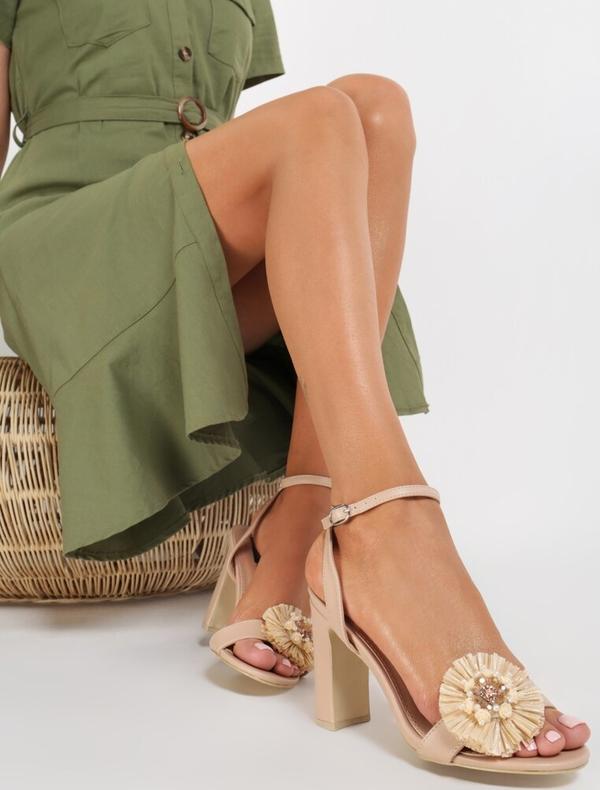 Sandały Renee na słupku na wysokim obcasie z klamrami