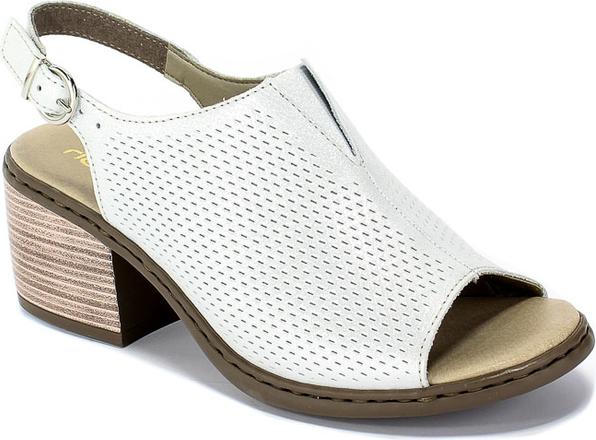 Sandały Rieker na obcasie w stylu casual ze skóry