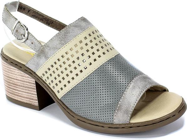 Sandały Rieker w stylu casual na średnim obcasie ze skóry