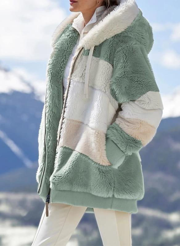 Sandbella Długi rękaw zapinany zamek kaptur miś pluszowy pasy ciepły zima kurtka (S)