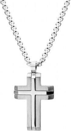 Silverado Klasyczny naszyjnik męski z krzyżem w kolorze srebrnym 77-WA425S