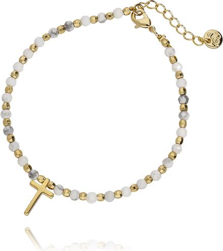 Simplicity Bransoletka złota z białym howlitem - krzyżyk BSC0544