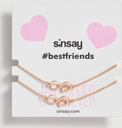 Sinsay - Bransoletki BFF z zawieszkami - Beżowy