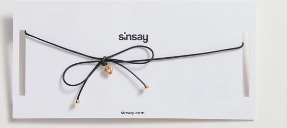 Sinsay - Choker z kokardą i sercem - Czarny