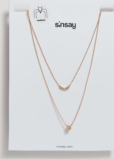 Sinsay - Podwójny naszyjnik z błyszczącymi detalami - Beżowy