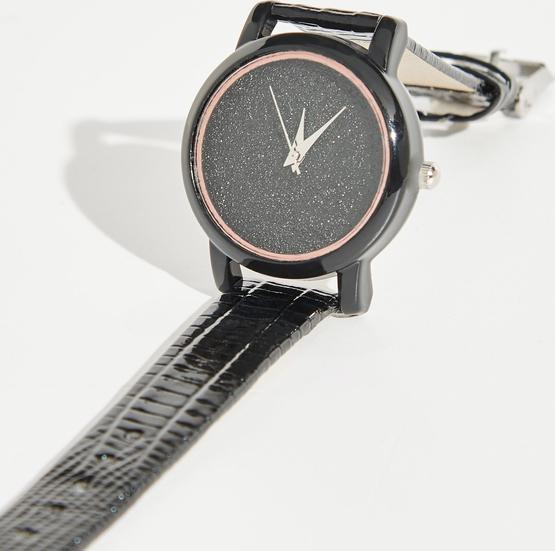 Sinsay - Zegarek z brokatową tarczą - Czarny