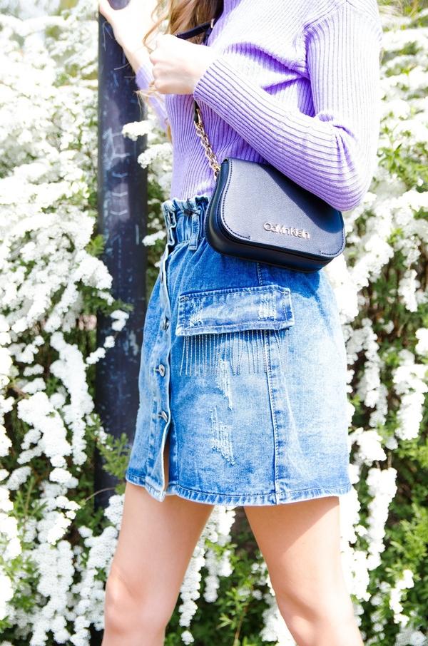 Spódnica Olika z jeansu w stylu casual