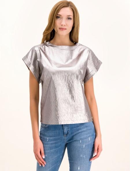 Srebrna bluzka Marella z krótkim rękawem w stylu glamour