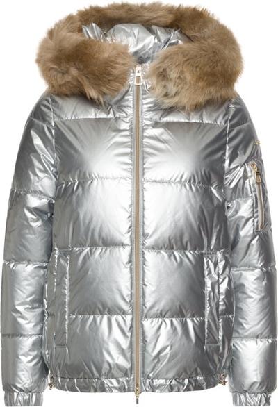 Srebrna kurtka Geox w stylu glamour