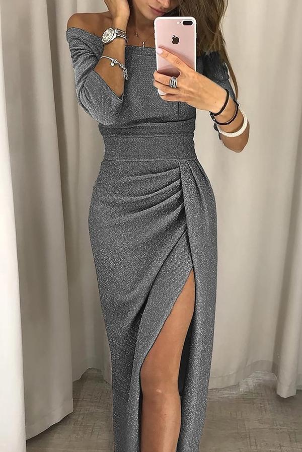 Srebrna sukienka Ivet.pl maxi dopasowana z długim rękawem