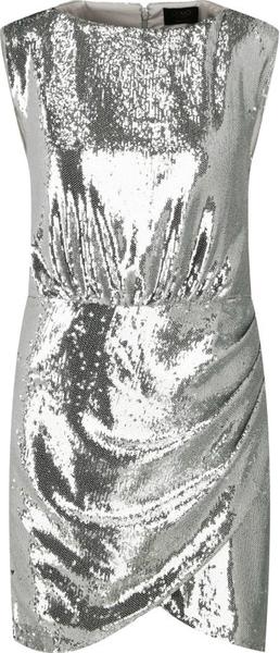Srebrna sukienka Liu-Jo mini z okrągłym dekoltem bez rękawów