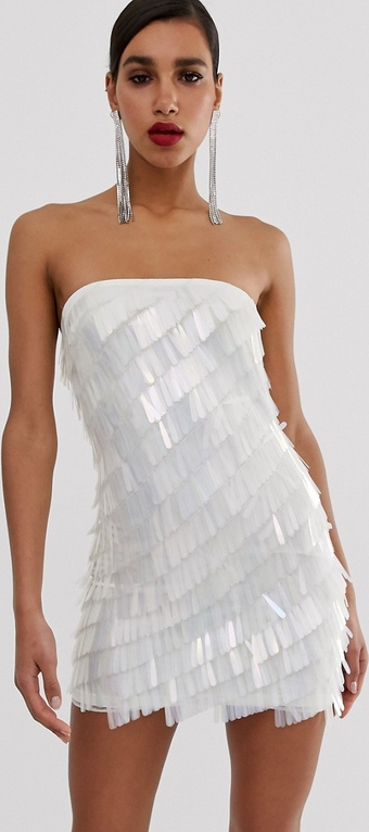 Srebrna sukienka Missguided bez rękawów mini