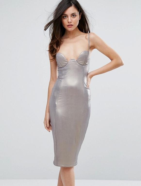Srebrna sukienka Rare z dekoltem w kształcie litery v midi