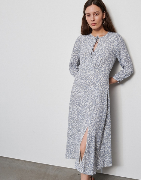 Srebrna sukienka Reserved w stylu casual z okrągłym dekoltem z długim rękawem