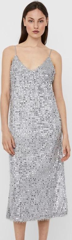 Srebrna sukienka WARESHOP na ramiączkach