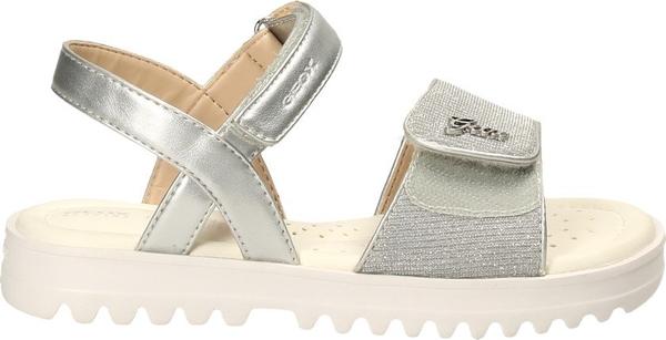 Srebrne buty dziecięce letnie Geox na rzepy dla dziewczynek