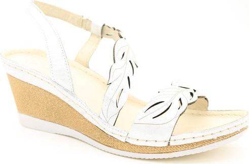 Srebrne sandały Helios na średnim obcasie z klamrami w stylu casual