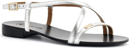 Srebrne sandały Neścior z klamrami