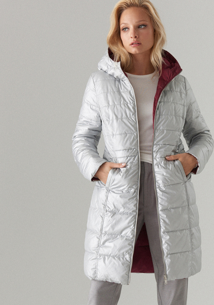 Srebrny płaszcz Mohito w stylu casual