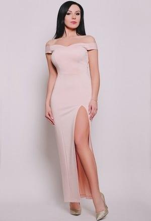 Sukienka Aile z krótkim rękawem maxi dopasowana