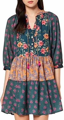 Sukienka amazon.de z dekoltem w kształcie litery v rozkloszowana z długim rękawem