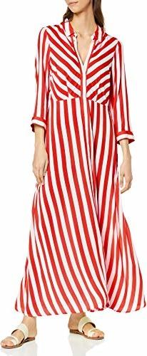 Sukienka amazon.de z długim rękawem z kołnierzykiem koszulowa