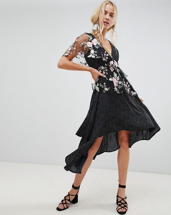Sukienka Asos Design asymetryczna z dekoltem w kształcie litery v