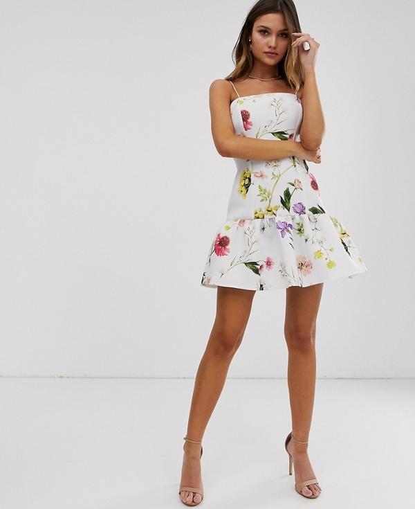 Sukienka Asos mini baskinka bez rękawów