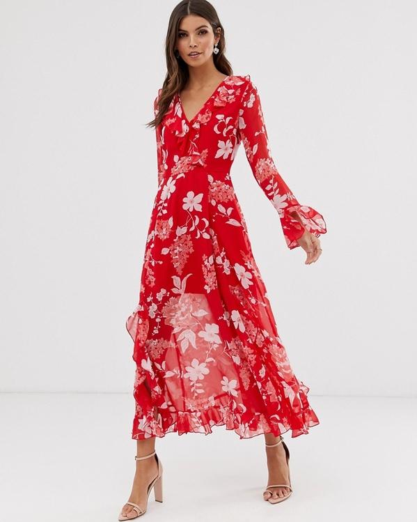 Sukienka Asos z dekoltem w kształcie litery v maxi z długim rękawem