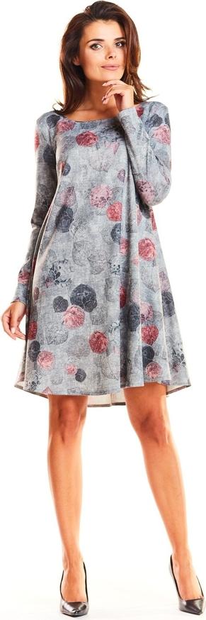 Sukienka Awama mini z okrągłym dekoltem w stylu casual
