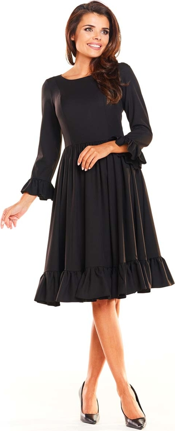 Sukienka Awama rozkloszowana z okrągłym dekoltem