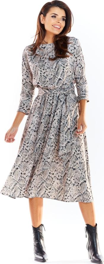 Sukienka Awama z długim rękawem rozkloszowana