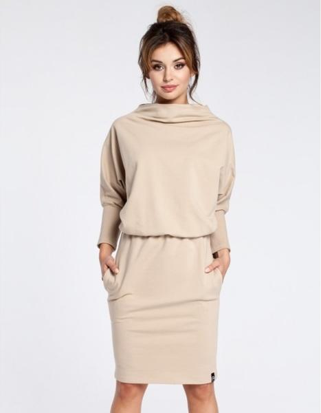 Sukienka Be z długim rękawem midi w stylu casual