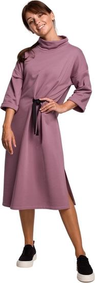 Sukienka Be z długim rękawem midi z dzianiny