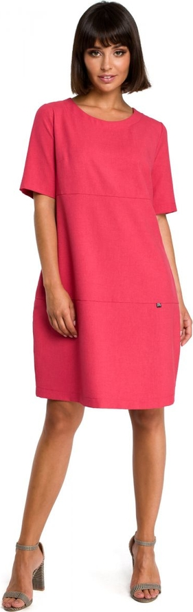 Sukienka Be z okrągłym dekoltem z krótkim rękawem bombka