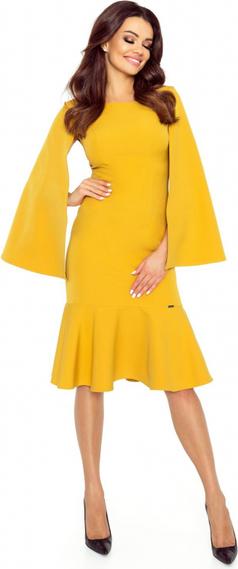 Sukienka Bergamo z okrągłym dekoltem z długim rękawem midi