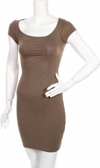 Sukienka Bershka z krótkim rękawem mini z okrągłym dekoltem
