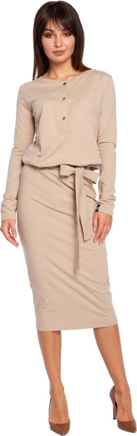 Sukienka BeWear midi z długim rękawem z dekoltem w kształcie litery v