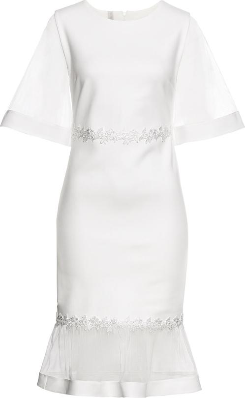 Sukienka bonprix BODYFLIRT boutique z okrągłym dekoltem z długim rękawem midi