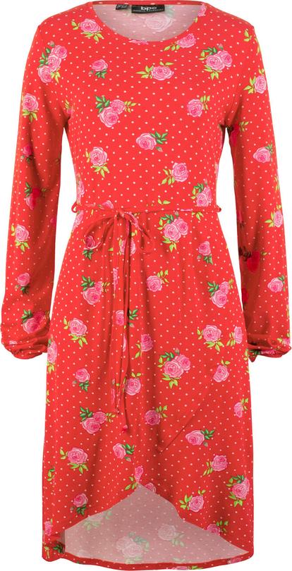 Sukienka bonprix bpc bonprix collection asymetryczna w stylu casual z długim rękawem