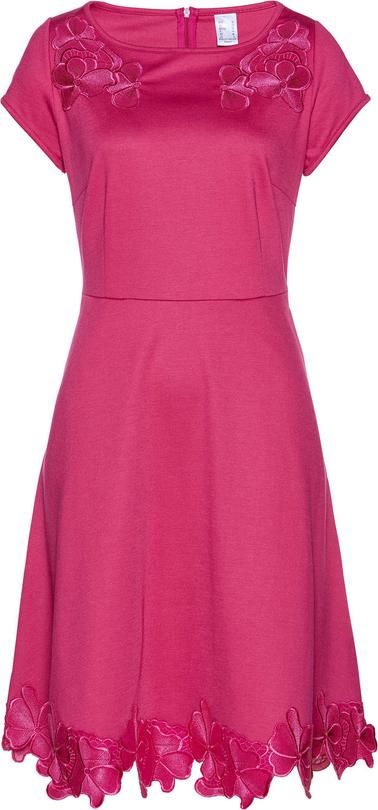 Sukienka bonprix bpc selection z okrągłym dekoltem z krótkim rękawem midi