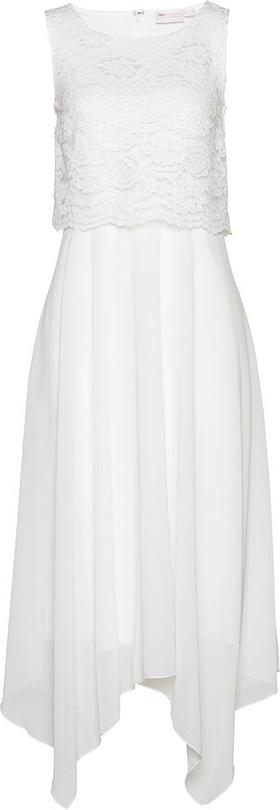 Sukienka bonprix midi z okrągłym dekoltem z szyfonu