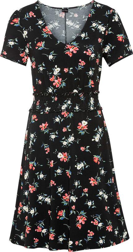 Sukienka bonprix z dekoltem w kształcie litery v mini z krótkim rękawem