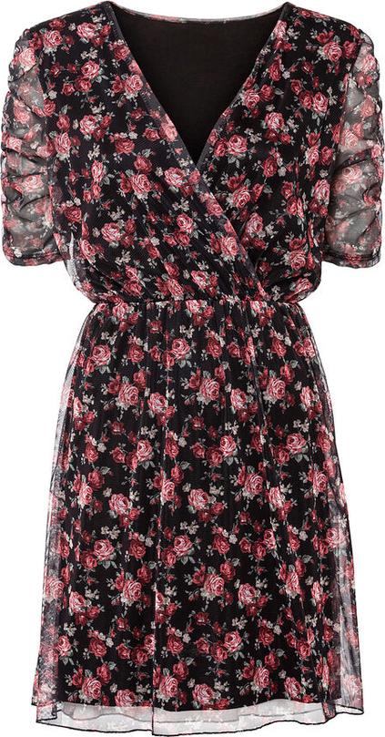 Sukienka bonprix z krótkim rękawem mini z dekoltem w kształcie litery v