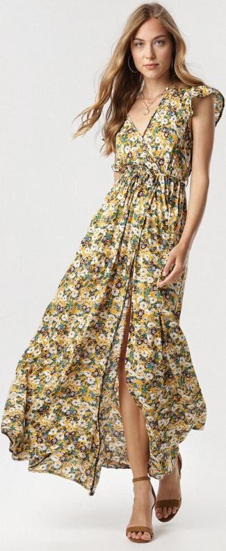 Sukienka born2be bez rękawów w stylu boho z dekoltem w kształcie litery v