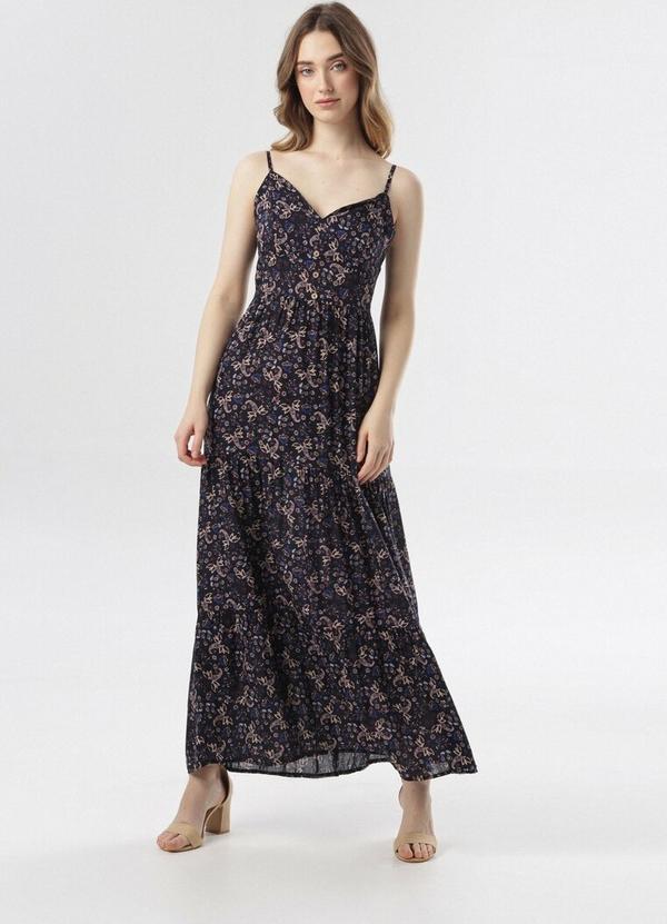 Sukienka born2be maxi prosta z dekoltem w kształcie litery v