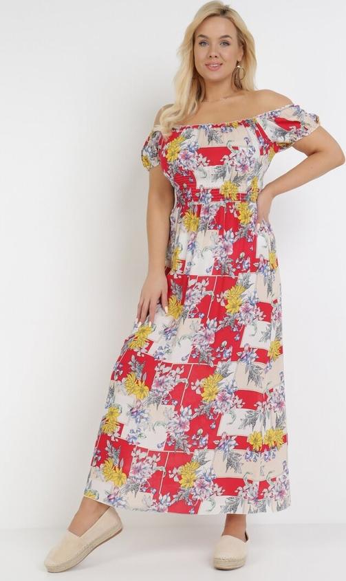 Sukienka born2be maxi w stylu boho z krótkim rękawem