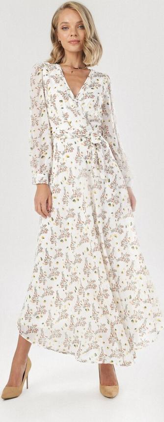 Sukienka born2be maxi z dekoltem w kształcie litery v kopertowa