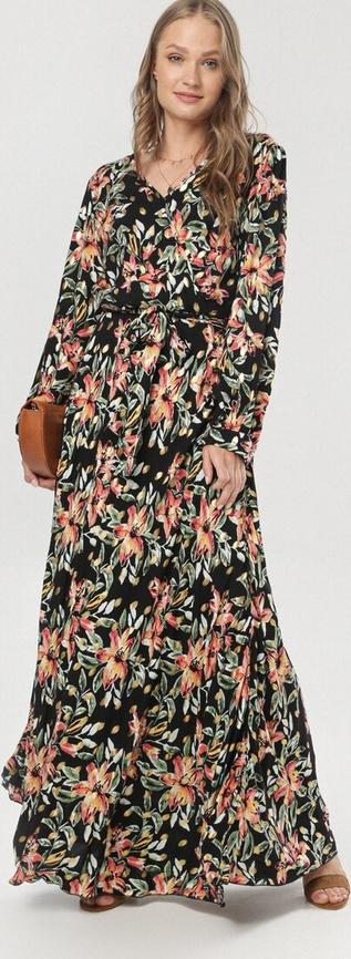 Sukienka born2be maxi z dekoltem w kształcie litery v w stylu boho