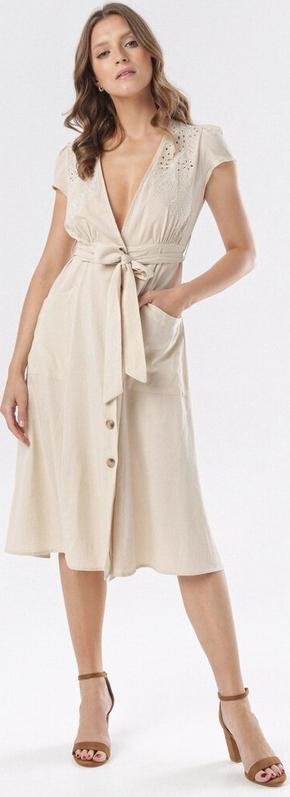 Sukienka born2be midi trapezowa z krótkim rękawem
